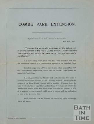 Notice Of The Combe Park Extension, Royal United Hospital, Bath, 1927