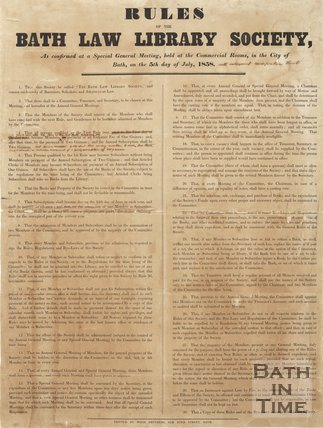 Rules Of The Bath Law Library Society, 1858