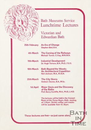 Poster Advertising Lunchtime Lectures On Victorian And Edwardian Bath, 1981