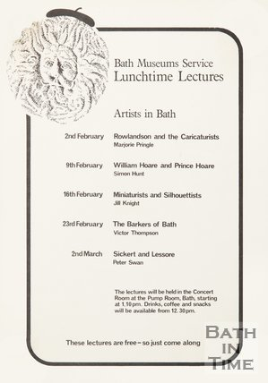 Poster Advertising Lunchtime Lectures On Artists In Bath, 1982
