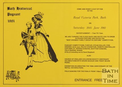 Poster Advertising Bath Historical Pageant 1981
