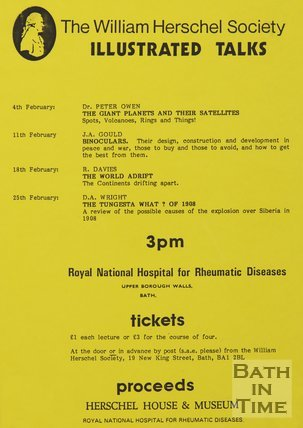 Poster Advertising The William Herschel Society Illustrated Talks, 1984