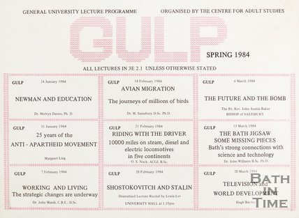 Poster Advertising GULP Lecture Programme, Spring 1984
