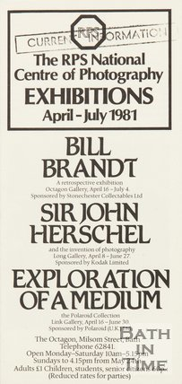 Leaflet For Royal Photographic Society, Front Cover, 1981