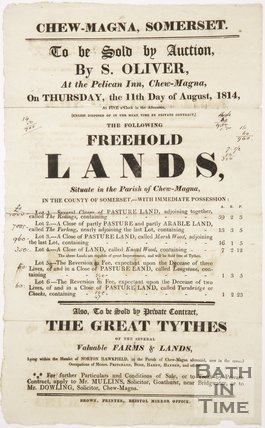 Poster Advertising Auction Of Freehold Lands In Chew Magna, 1814