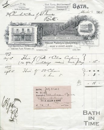Trade Card for Henry ALLEN & Sons 20 & 21 Southgate Street (showrooms), Bath 1903