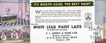 Trade Card for F. J. AMERY & Sons Ltd. 21 & 22 Grove Street, Bath 1902