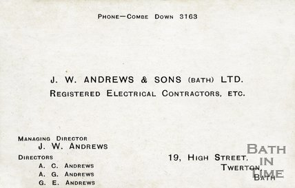 Trade Card for J. W. ANDREWS & Sons Ltd. 19 High Street, Twerton 1950s?