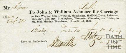 Trade Card for John & William ASHMORE Horse Street, Bath 1822