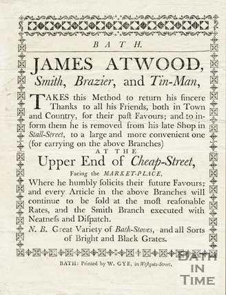Trade Card for James ATWOOD Cheap Street, Bath c.1771