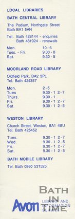 Trade Card for AVON Library Service Bath Central library, Moorland Road Library, Weston Library, Bath 1990s