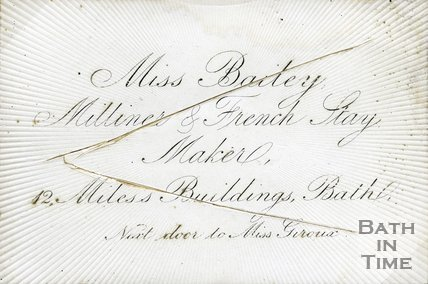 Trade Card for Miss BAILEY 12 Miles's Buildings, Bath - next door to Miss Giroux