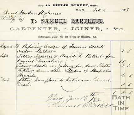 Trade Card for Samuel BARTLETT 16 Philip Street, Bath 1899