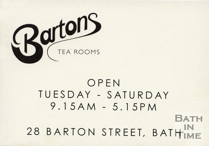 Trade Card for BARTON'S Tea Rooms 28 Barton Street, Bath 2013