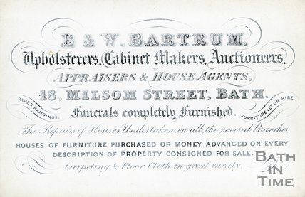 Trade Card for B. & W. BARTRUM 18 Milsom Street, Bath 1914?