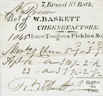 Trade Card for W. BASKETT 7 Broad Street, Bath 1845