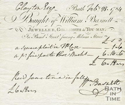 Trade Card for William BASNETT Bond Street, facing Milsom Street, Bath 1784