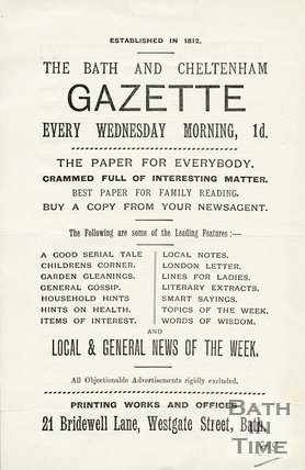 Trade Card for BATH & Cheltenham Gazette 24 Bridewell Lane, Westgate Street, Bath 1895