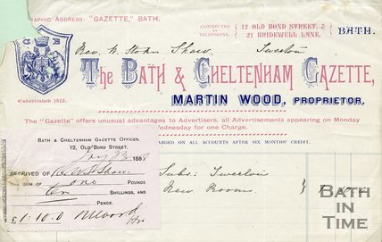 Trade Card for BATH & Cheltenham Gazette 12 Old Bond Street; 21 Bridewell Lane, Bath 1888