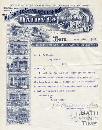 Trade Card for BATH & Somersetshire Dairy Co. Ltd. 3 Bladud Buildings, Bath 1909