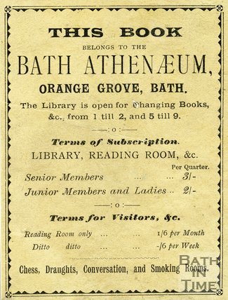 Trade Card for BATH Athenaeum, Orange Grove, Bath 1880-90s