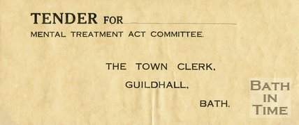 Trade Card for BATH City Council Mental Treatment Act Committee ?, 1910s