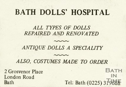 Trade Card for BATH Dolls' Hospital 2 Grosvenor Place, London Road, Bath 1994