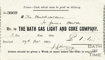 Trade Card for BATH Gas Light and Coke Company 1903