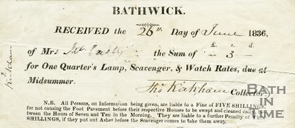 Trade Card for BATHWICK Parochial Council, Bathwick, Bath 1836