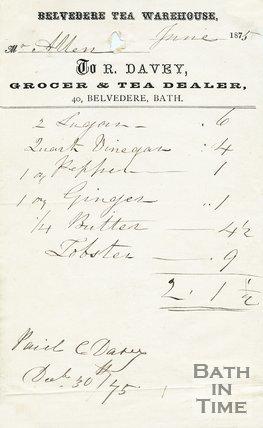 Trade Card for BELVEDERE Tea Warehouse 40 Belvedere, Bath 1875