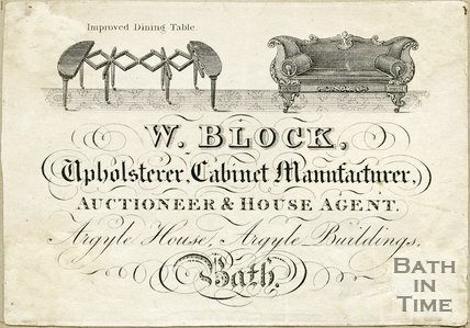 Trade Card for W. BLOCK Argyle House, Argyle Buildings, Bath 1850