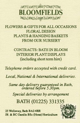Trade Card for BLOOMFIELDS 23 Wellsway, Bath 1995/6