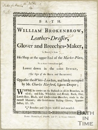 Trade Card for William BROKENBROW Market Place, Bath 1762