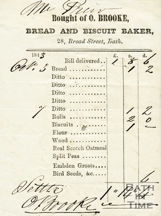 Trade Card for O. BROOKE 28 Broad Street, Bath 1843