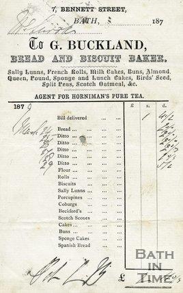 Trade Card for G. BUCKLAND 7, Bennett Street, Bath 1879