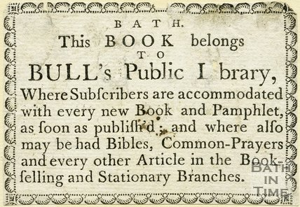Trade Card for BULL'S Public Library, Lower Walks, Bath 1770