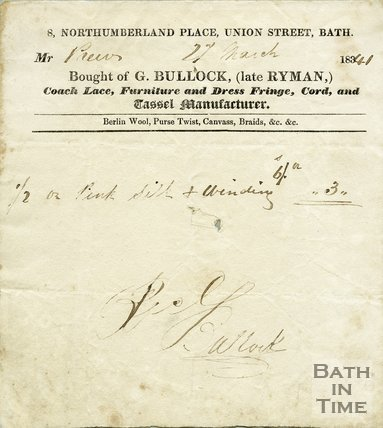 Trade Card for G. BULLOCK (late Ryman) 8 Northumberland Place, Union Street, Bath 1841