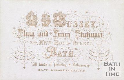 Trade Card for I. J. BUSSEY, 20 New Bond Street, Bath