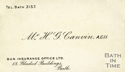 Trade Card for H. G. CANVIN 13 Bladud Buildings, Bath c.1937