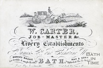 Trade Card for W. CARTER St. James Square and Catharine Mews, Bath 1850-54