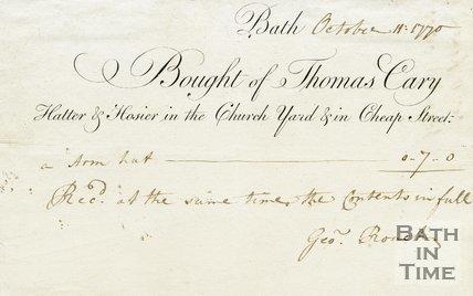 Trade Card for Thomas CARY Church Yard and Cheap Street, Bath 1770