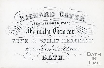 Trade Card for Richard CATER, 27 Market Place, Bath