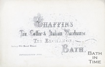 Trade Card for James CHAFFIN The Exchange, facing Old Bond Street, Bath