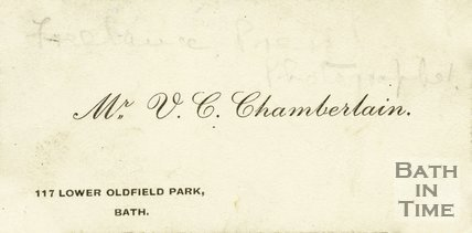 Trade Card for V. C. CHAMBERLAIN 117 Lower Oldfield Park, Bath