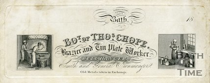 Trade Card for Thomas CHOPE 2 Gloucester Place, Bath 18??