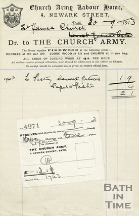 Trade Card for CHURCH Army Labour Home 4 Newark Street, Bath 1913
