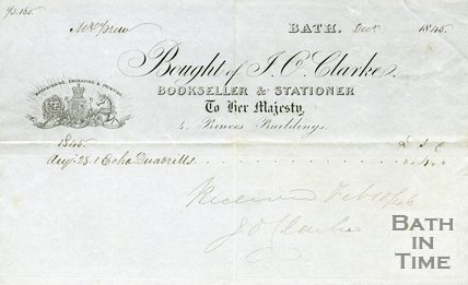 Trade Card for J. O. CLARKE 4 Princes Buildings, Bath 1845
