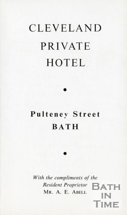 Trade Card for CLEVELAND Private Hotel, Pulteney Street, Bath 1960