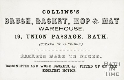 Trade Card for COLLINS's 19 Union Passage, Bath 191?