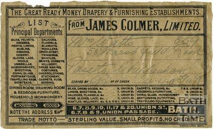 Trade Card for James COLMER Ltd. 6-11, 17, 20 Union Street, 6-9 Union Passage, Bath
